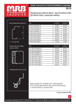Ceník protipožárních zárubní MRB Sazovice 3/2015 EUR
