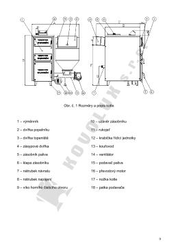 Technický nákres a popis kotle