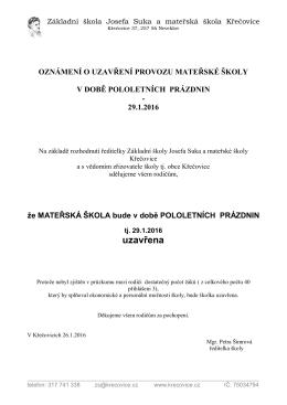 uzavřena - Základní škola Josefa Suka a MŠ Křečovice