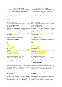 1 KUPNÍ SMLOUVA uzavřená dle § 2079 a násl. zákona č. 89/2012