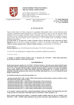 Dražební vyhláška - Exekutorský úřad Olomouc