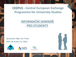 CEEPUS - Central European Exchange Programme for University