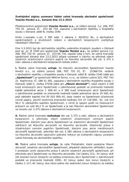 zveřejnění zápisu usnesení VH