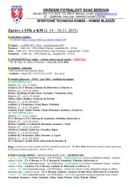 Zprávy z STK a KM (č. 14 – 18.11. 2015) - Soutěže