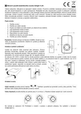 CZ Návod k použití bezdrátového zvonku Solight 1L30