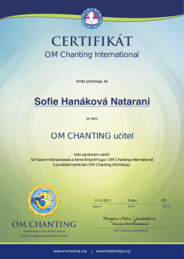 Czech OMC Certificate Teacher