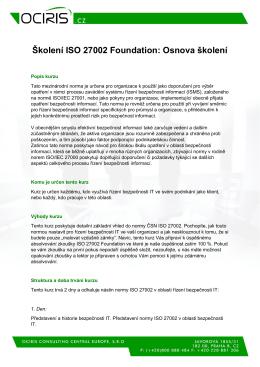 Školení ISO 27002 Foundation: Osnova školení