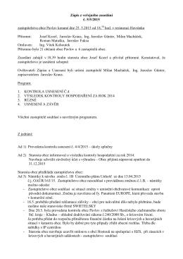 Zápis VZ č.5_2015 +Usnesení veřejného zasedání