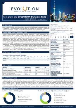 Fact sheet pro EVOLUTION Dynamic Fund