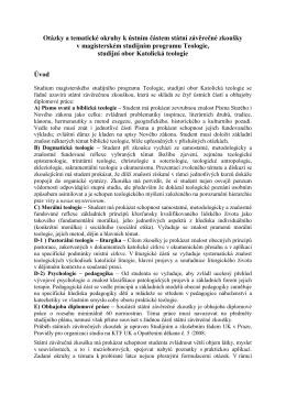 Tématické okruhy studijní obor Katolická teologie platné od 30.11