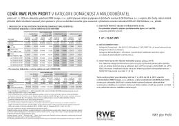 cenÍK RWe plyn pROFIT v kategorii Domácnost a malooDběratel