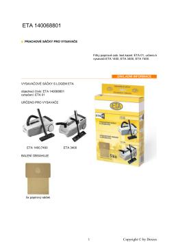 Prachové sáčky ETA - detailní informace o produktu