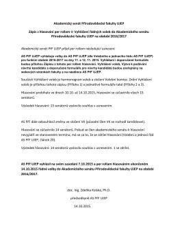 Akademický senát Přírodovědecké fakulty UJEP Zápis z hlasování