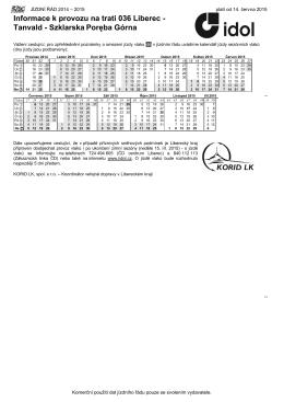 Informace k provozu na trati 036 Liberec - Tanvald