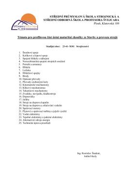 Témata pro profilovou část ústní maturitní zkoušky ze Stavby a