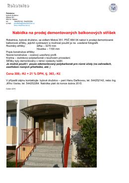 Nabídka na prodej demontovaných balkonových stříšek