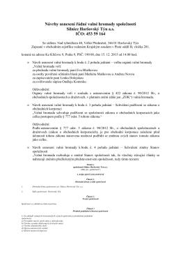13. 11. 2015 Návrhy usnesení valné hromady