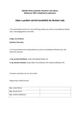 Zápis o podání návrhů kandidátů do školské rady