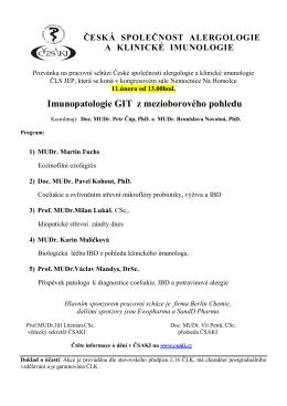Imunopatologie GIT z mezioborového pohledu