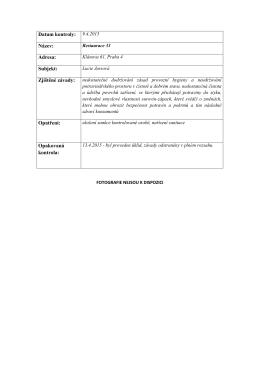 Datum kontroly: 9.4.2015 Název: Adresa: Subjekt: Opatření