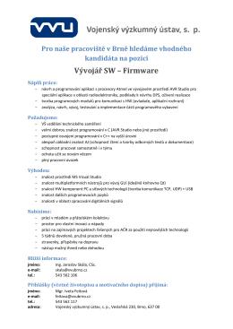 VVÚ Brno - Inzerát - Vývojář SW Firmware