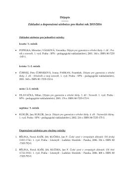 Dějepis Základní a doporučené učebnice pro školní rok 2015/2016