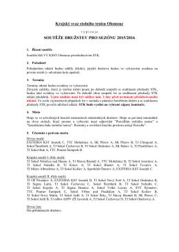 Rozpis soutěží 2015-2016 - Krajský svaz stolního tenisu Olomouc
