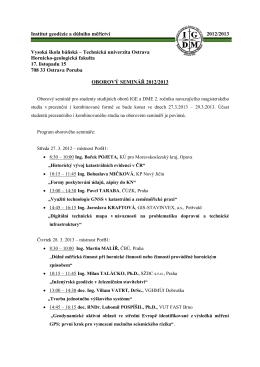 Institut geodézie a důlního měřictví 2012/2013 Vysoká škola báňská