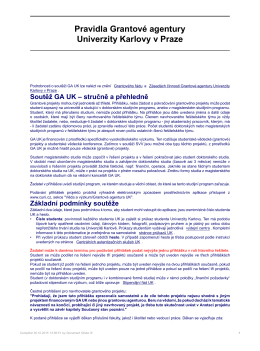 Pravidla Grantové agentury Univerzity Karlovy v Praze