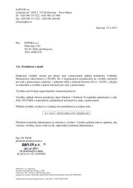 Prohlášení o shodě agentura ENPEKA