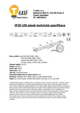 IP20 LED pásek technická specifikace - T