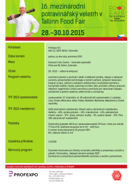 16. mezinárodní potravinářský veletrh v Tallinn Food Fair