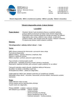 Vibrační diagnostika strojů- 2-denní školení 1.-2.4.2015