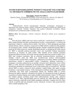 studium benzodiazepinů pomocí cyklické voltametrie na meniskové