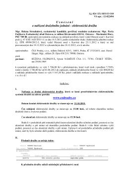 U snesen í o nařízení dražebního jednání - elektronická