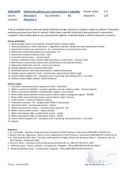 Program předmětu 2015 - Katedra elektrických pohonů a trakce FEL