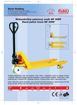 Katalogový list paletového vozíku NF 20DF