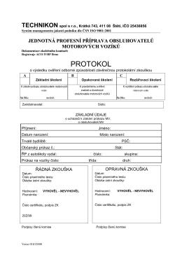 protokol závěrečných zkoušek pro jednotlivce