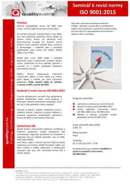revize normy ISO 9001:2015