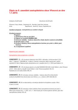 Zápis z 8. zasedání zastupitelstva obce Vřesová