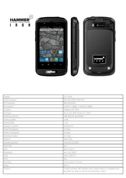 """Displej: 3.5"""" HVGA GSM frekvence: 850/900/1800/1900 MHz 3G"""