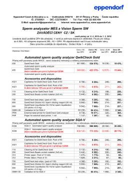 Ceník 2015: Sperm analyzátor MES a Vision Sperm SW