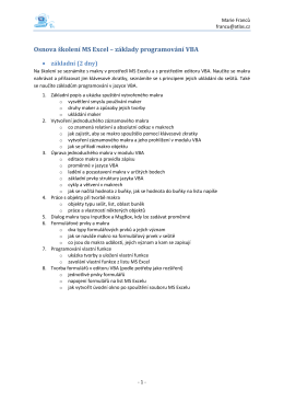 Osnova školení MS Excel – základy programování VBA