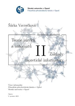 Teorie jazyků a automatů Základy teoretické informatiky