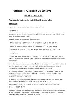 Usnesení z 4. zasedání ZO Ženklava ze dne 27.5.2015