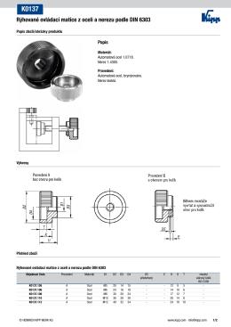 Datový list K0137 Rýhované ovládací matice z oceli a nerezu podle