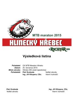 Výsledková listina MTB maraton 2015