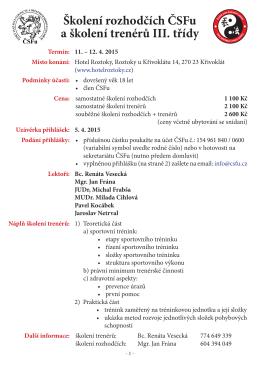 Školení rozhodčích ČSFu a školení trenérů III. třídy Termín