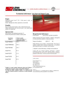 Technická informace pro barvení hmot Lena
