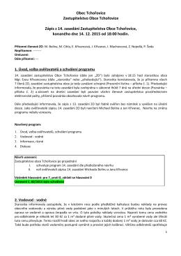 Zápis ze 14. zasedání ZO Tchořovice
